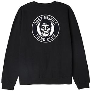 Obey X Misfits The Obey Fiend Club Crewneck Sweater Black