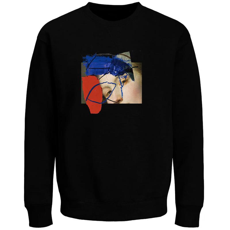 Poetic Half And Half Crewneck Sweater Black