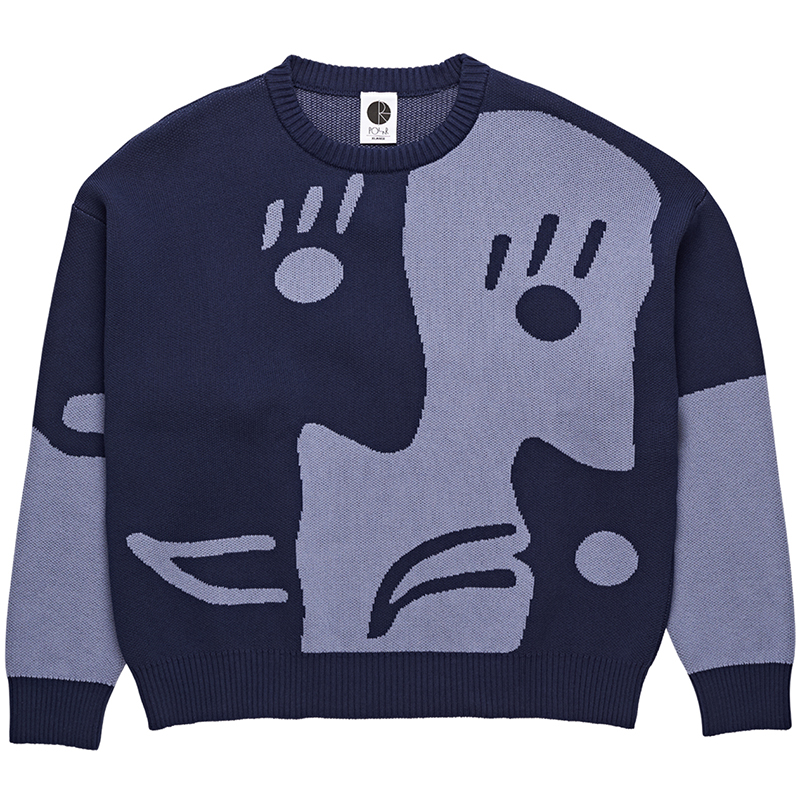 Polar Art Knit Sweater Dark Blue/Dusty Blue