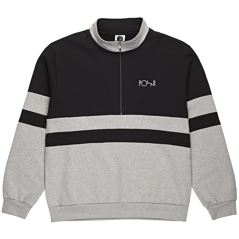 Polar Block Zip Sweatshirt Black/Heather Grey
