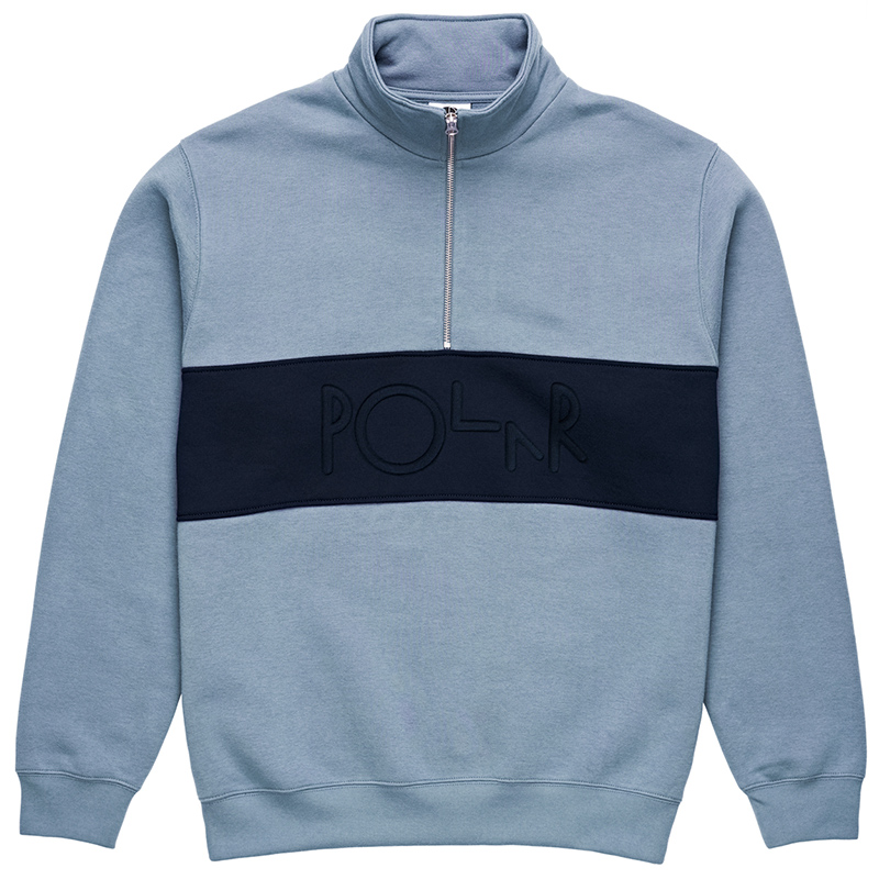 Polar Block Zip Sweatshirt Dusty Blue/Navy