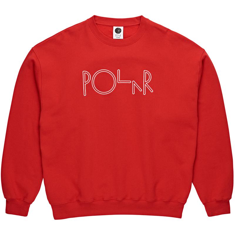 Polar Script Crewneck Sweater Red