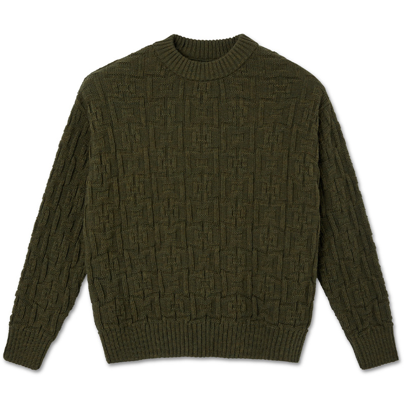 Polar Square Knit Sweater Army Green