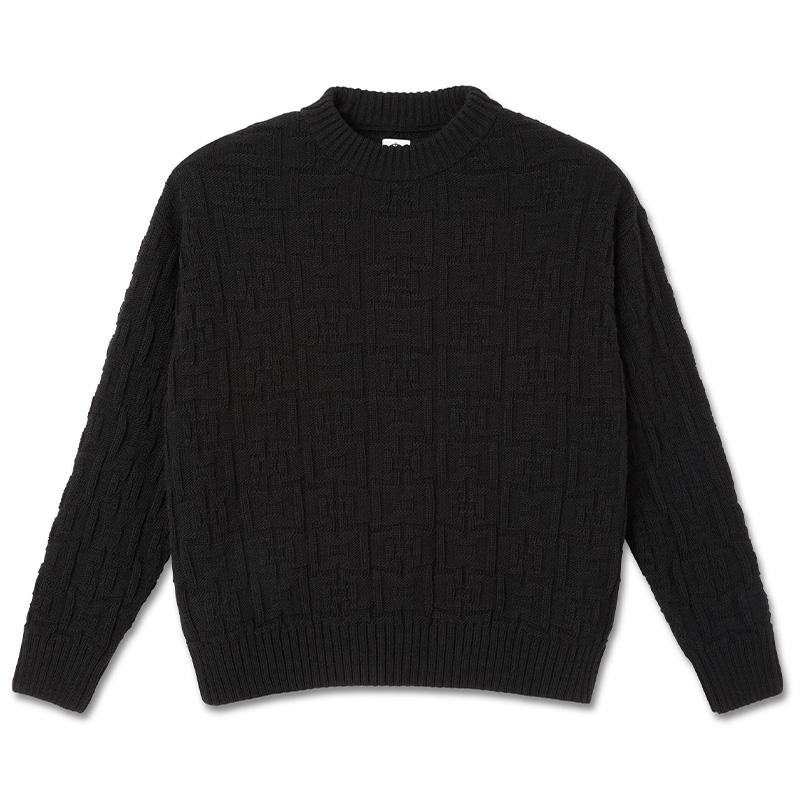 Polar Square Knit Sweater Black