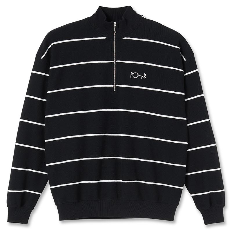 Polar Stripe Zip Neck Sweatshirt Black