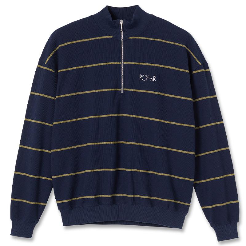 Polar Stripe Zip Neck Sweatshirt Rich Navy