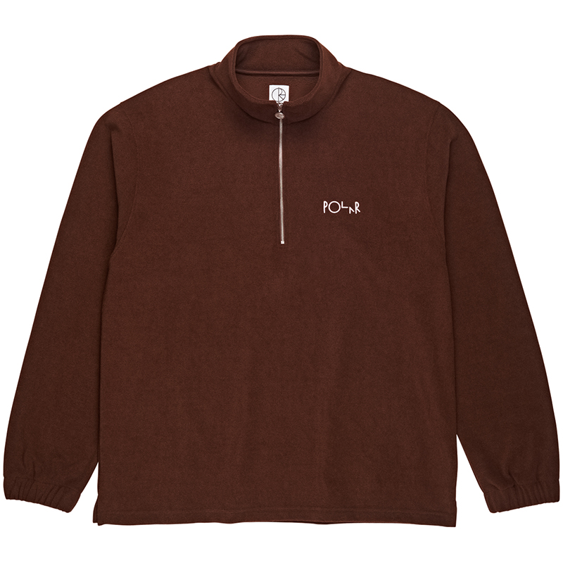Polar Terry Zip Mockneck Sweater Brown