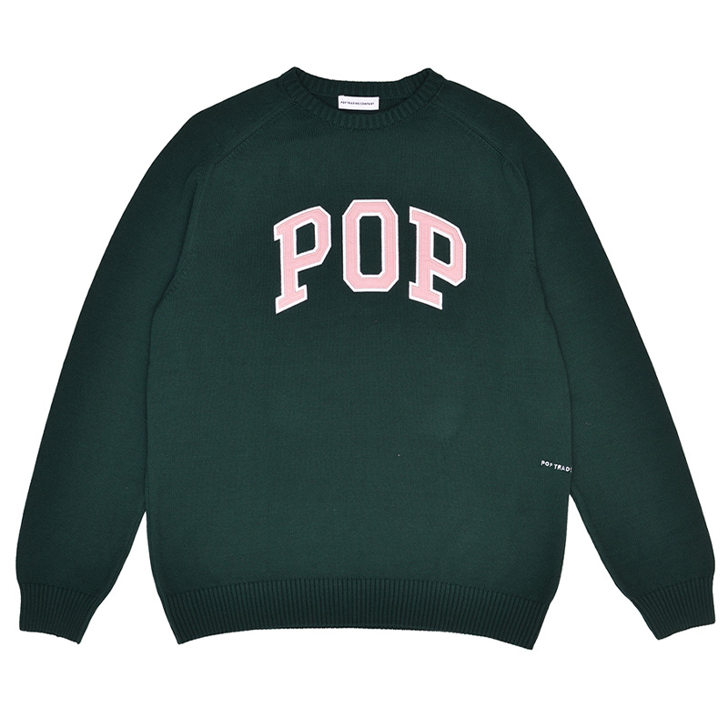 Pop Trading Company Arch Knitted Crewneck Sweater Bistro Green