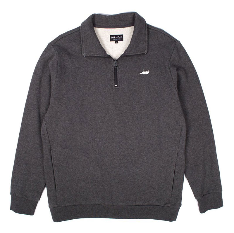RIPNDIP Castanza 1/4 Zip Sweater Heather Grey/Black