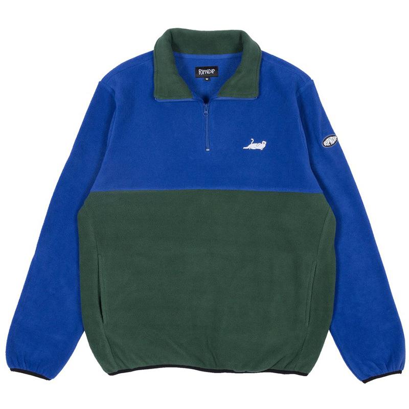 RIPNDIP Castanza Fleece Half Zip Sweater Navy/Hunter Green