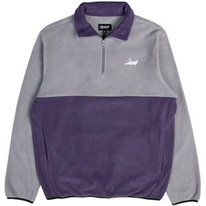 RIPNDIP Castanza Half Zip Brushed Fleece Sweater Grey/Purple