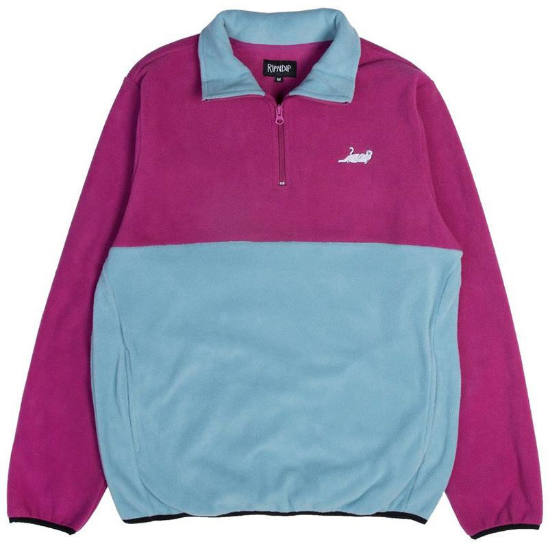 RIPNDIP Castanza Half Zip Brushed Fleece Sweater Purple