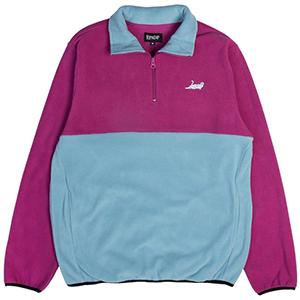 RIPNDIP Castanza Half Zip Brushed Fleece Sweater Fuschia/Aqua
