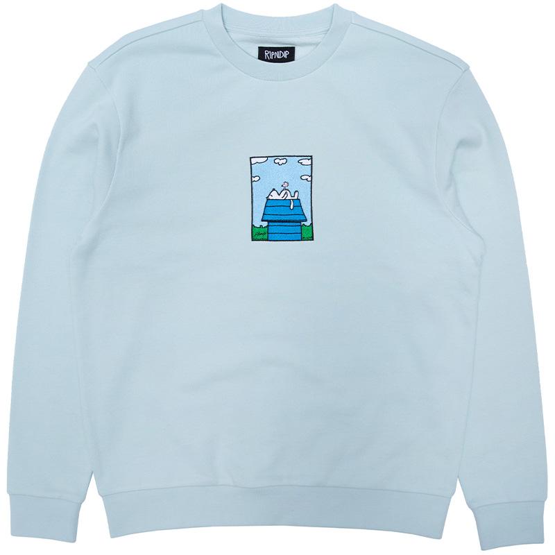 RIPNDIP Not Today Embroidered Art Crewneck Sweater Light Blue