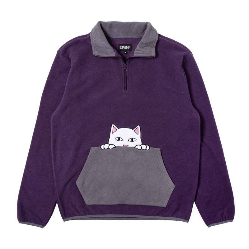 RIPNDIP Peeking Nerm Brushed Fleece Half Zip Sweater Purple/Grey