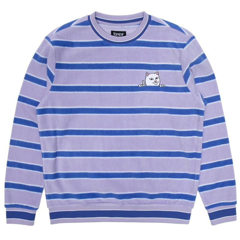 RIPNDIP Peeking Nermal Brushed Fleece Crewneck Sweater Lavender