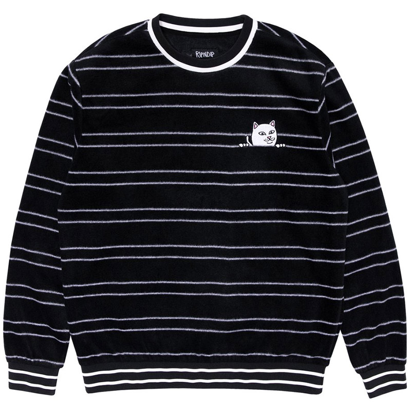 RIPNDIP Peeking Nermal Polar Fleece Crewneck Sweater Black