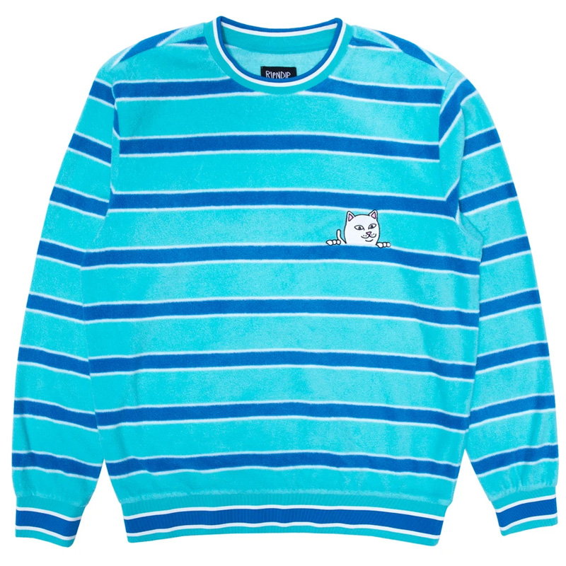 RIPNDIP Peeking Nermal Polar Fleece Crewneck Sweater Blue