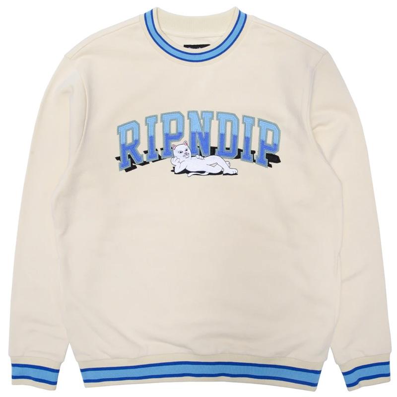 RIPNDIP Team Spirit Embroidered Crewneck Sweater Natural