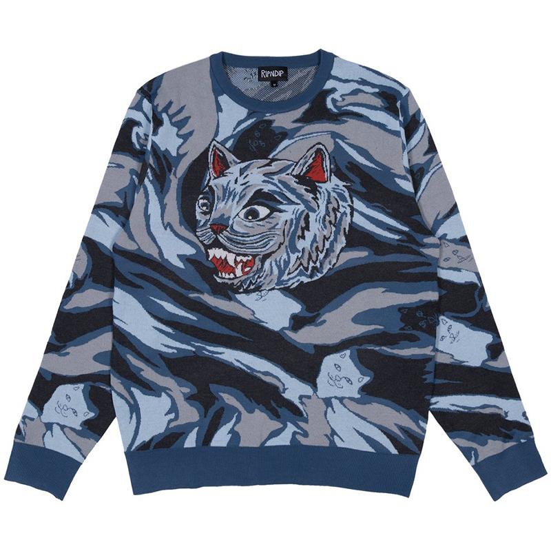 RIPNDIP Tiger Nerm Knit Sweater Light Blue Camo