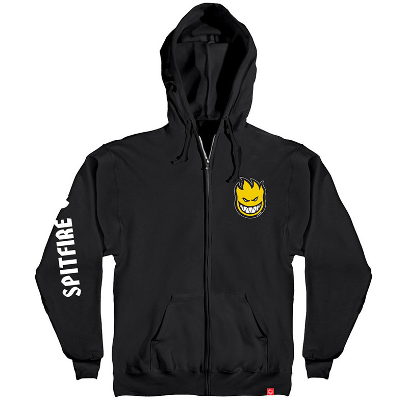 Spitfire Lil Bighead Fill Hombre Zip Up Sweater Black /Yellow/White