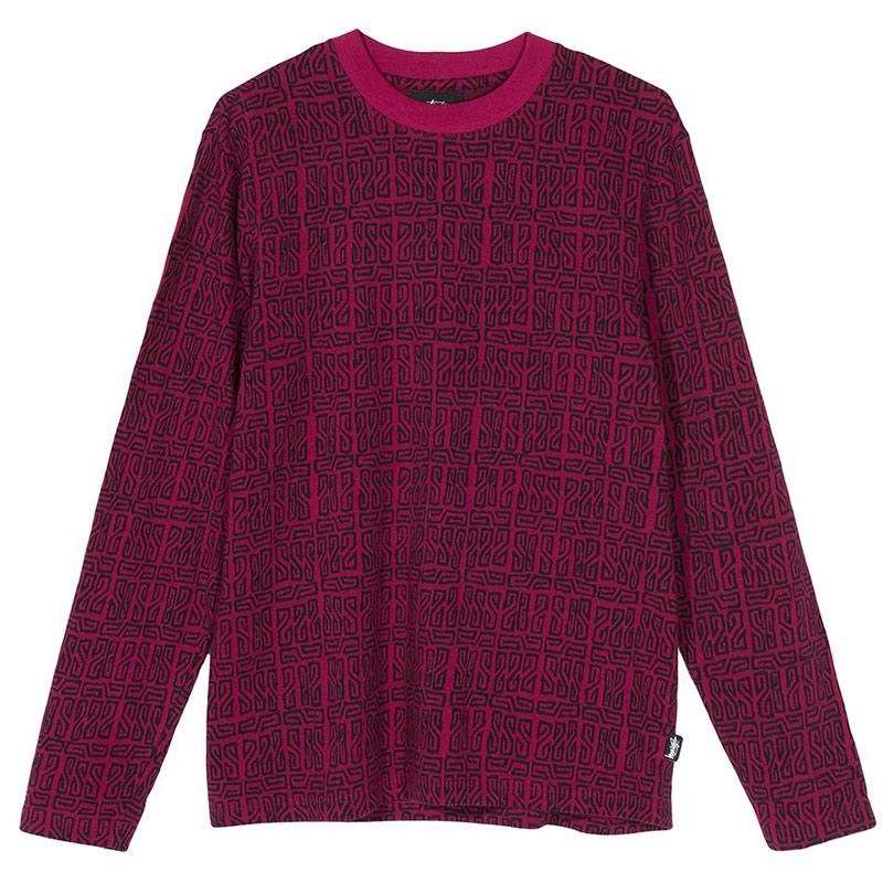 Stussy Bali Longsleeve Crewneck Sweater Maroon