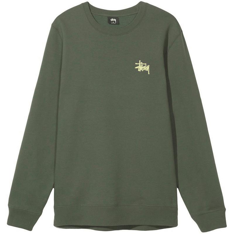 Stussy Basic Crewneck Sweater Army