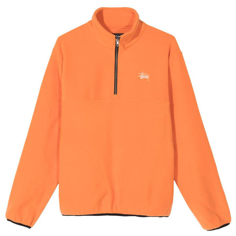Stussy Basic Polar Fleece Mock Sweater Orange