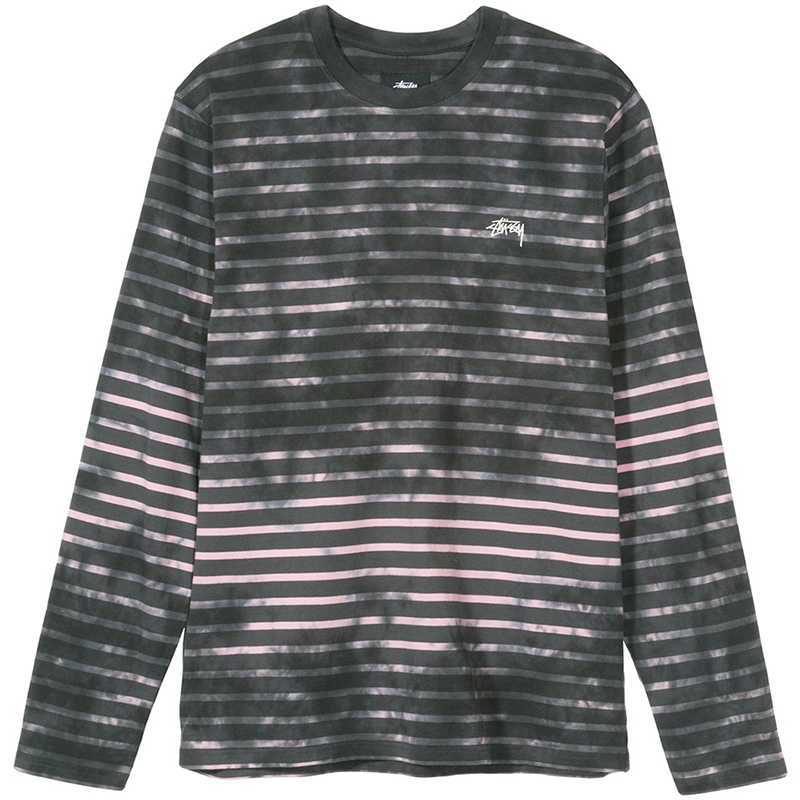 Stussy Bleach Stripe Crewneck Sweater Charcoal