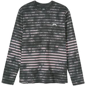 Stussy Bleach Stripe Crewneck Sweater Charcoal