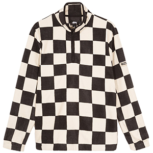 Stussy Checkered Mockneck Sweater Black