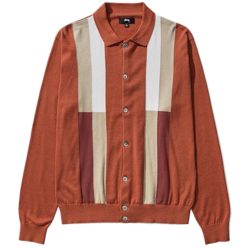 Stussy Color Block Sweater Burnt Orange