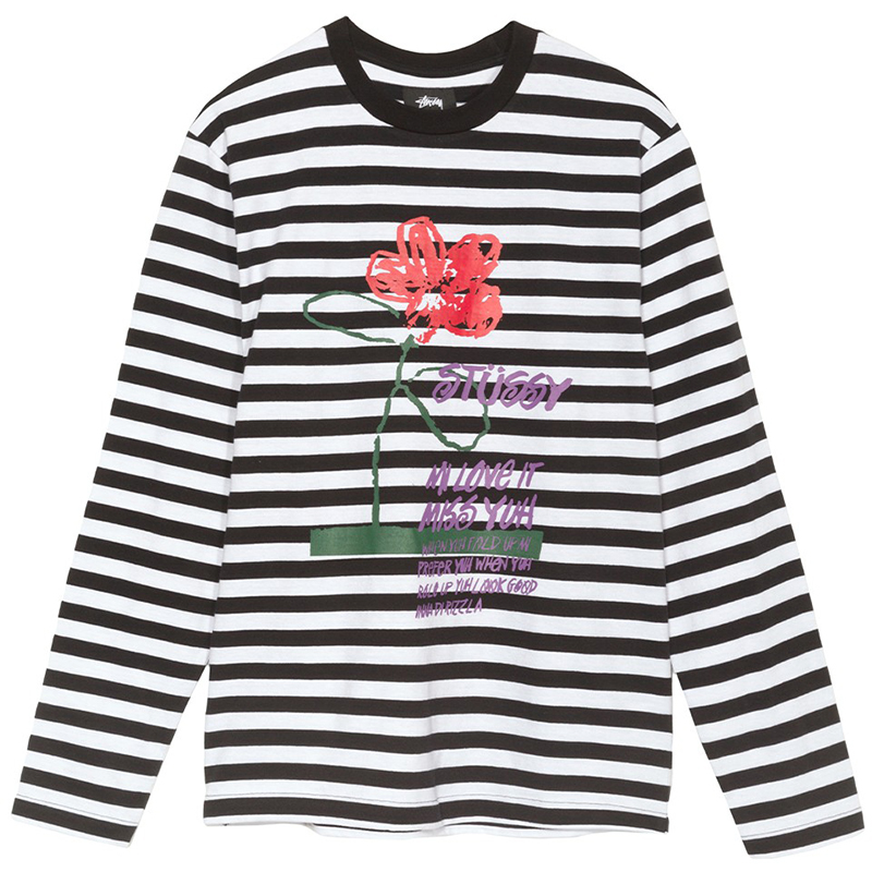 Stussy Flower Stripe Crewneck Sweater Black