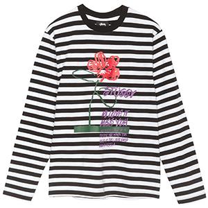 Stussy Flower Stripe Crewneck Sweater Black