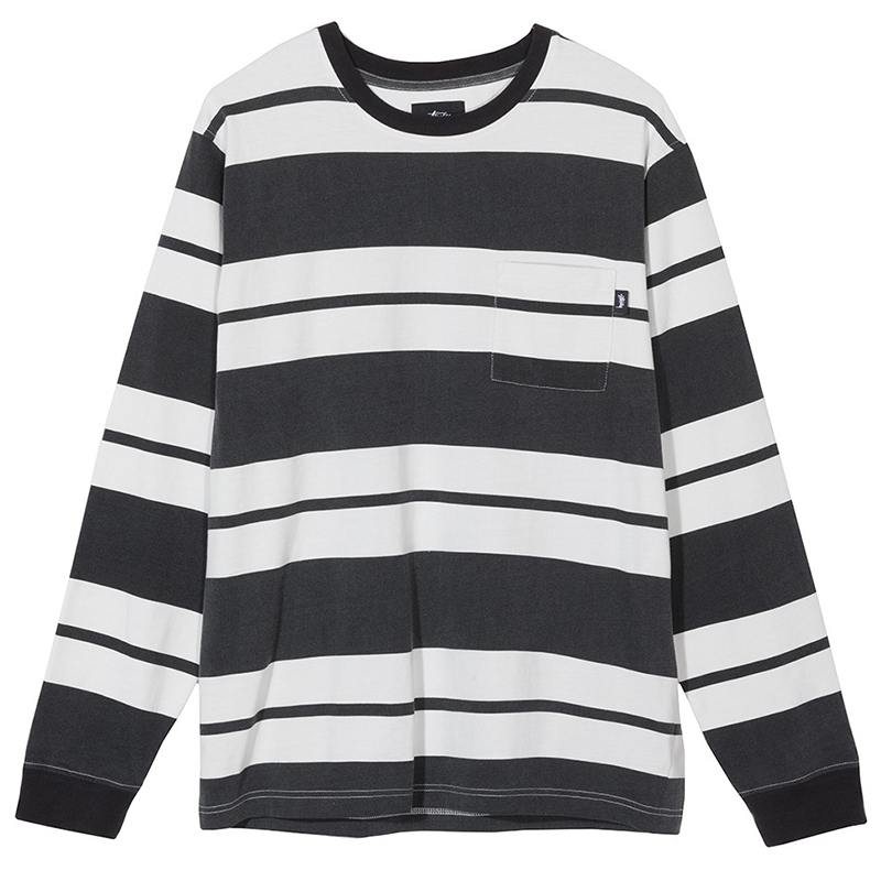 Stussy Franklin Stripe Crewneck Sweater Black