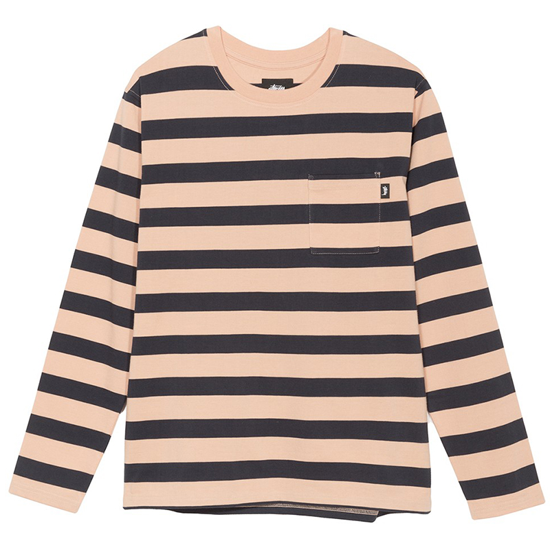 Stussy Malcolm Stripe Crewneck Sweater Peach
