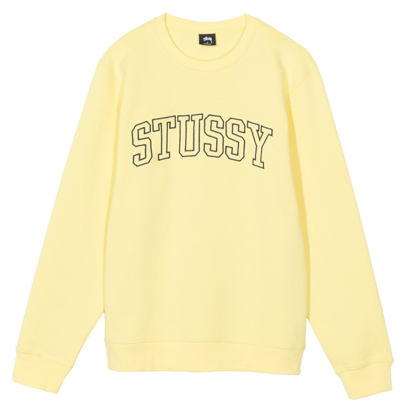Stussy Outline App. Crewneck Sweater Lemon