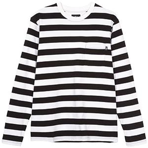 Stussy Rudy Stripe Longsleeve Crewneck Sweater Black