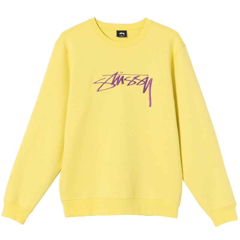Stussy Smooth Stock App. Crewneck Sweater Lemon