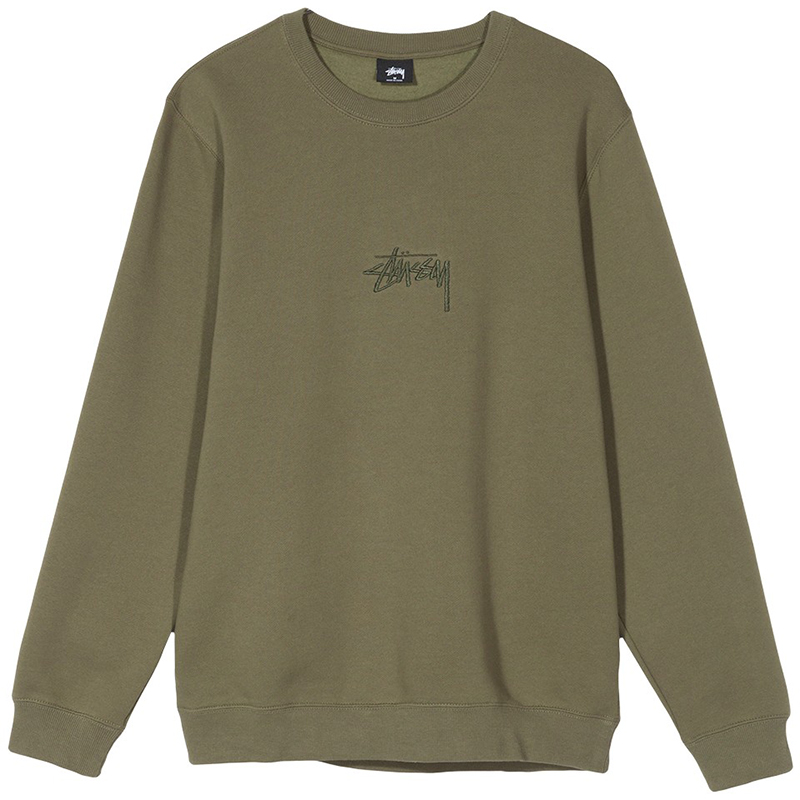 Stussy Stock App Crewneck Sweater Olive