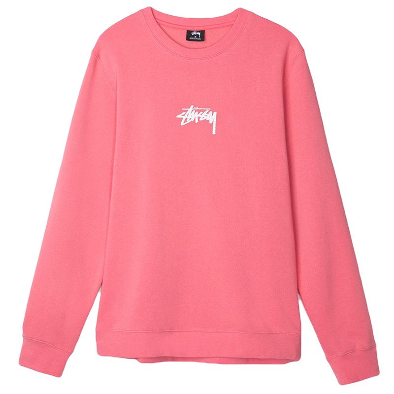 Stussy Stock Crewneck Sweater Dark Pink