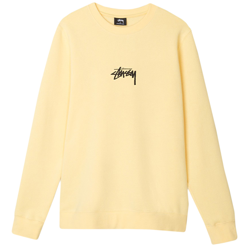 Stussy Stock Crewneck Sweater Pale Yell L - Skatestore.com