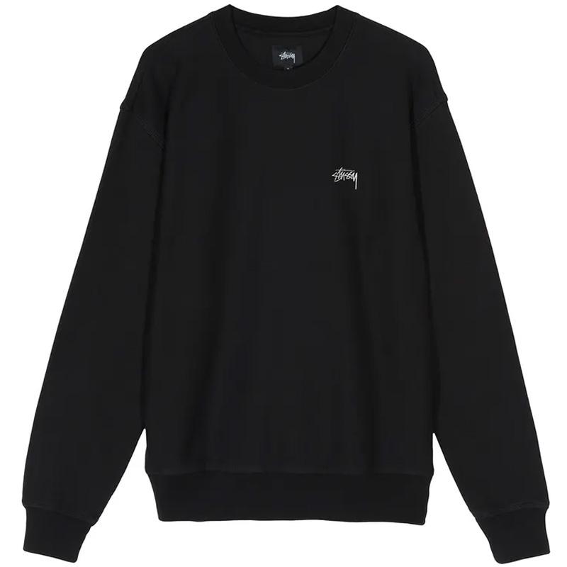 Stussy Stock Logo Crewneck Sweater Black