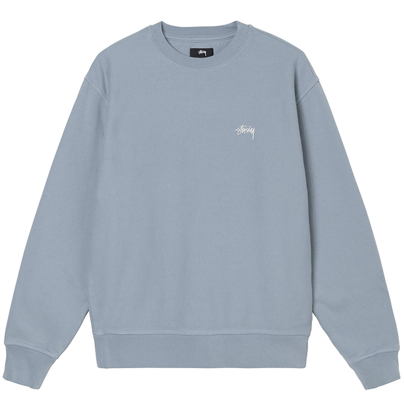 Stussy Stock Logo Crewneck Sweater Slate