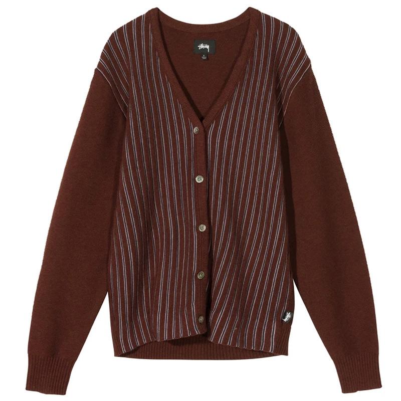 Stussy Stripe Cardigan Crewneck Sweater Burgundy