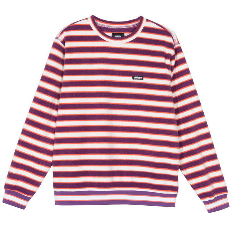 Stussy Striped Polar Fleece Crewneck Sweater Berry