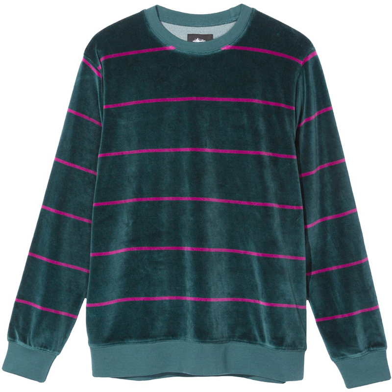 Stussy Striped Velour Crewneck Sweater Dark Teal