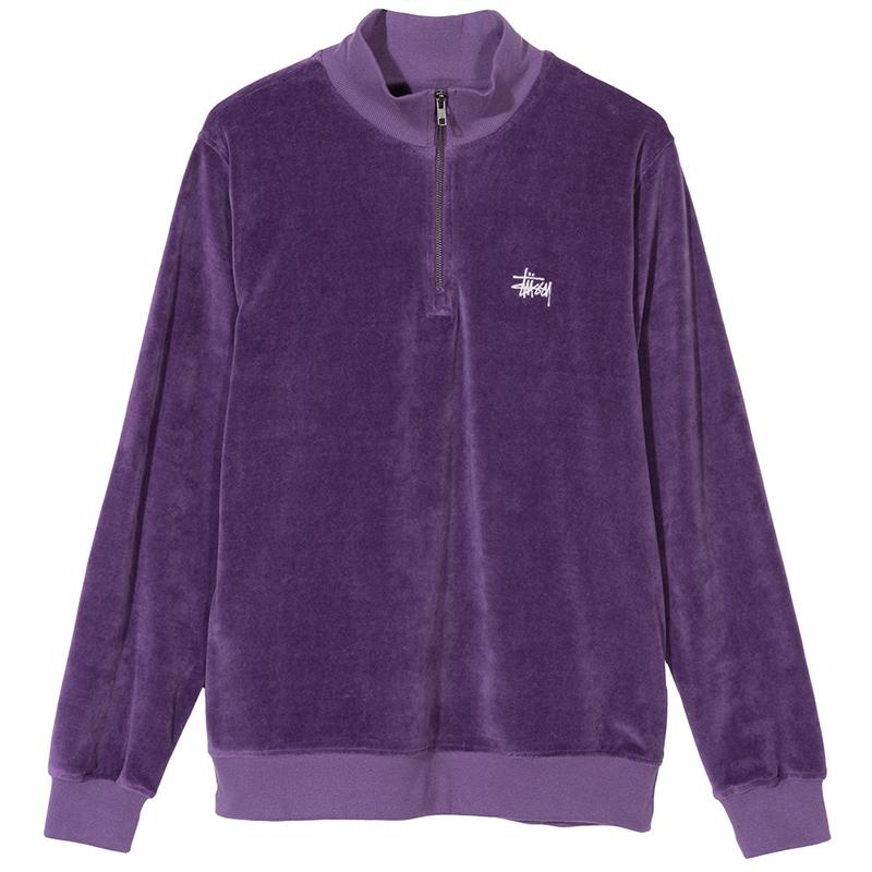 Stussy Velour Zip Mock Sweater Purple