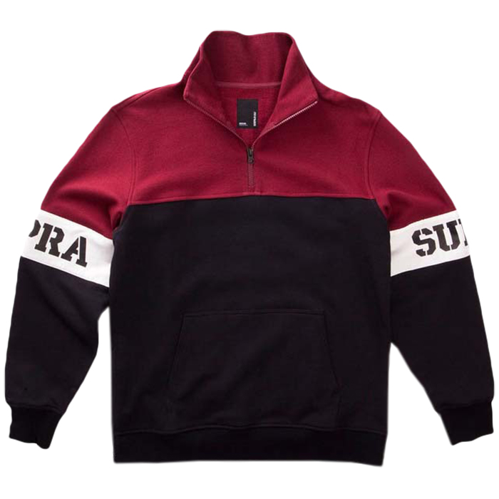 Supra Spar Mock Half Zip Sweater Burgundy