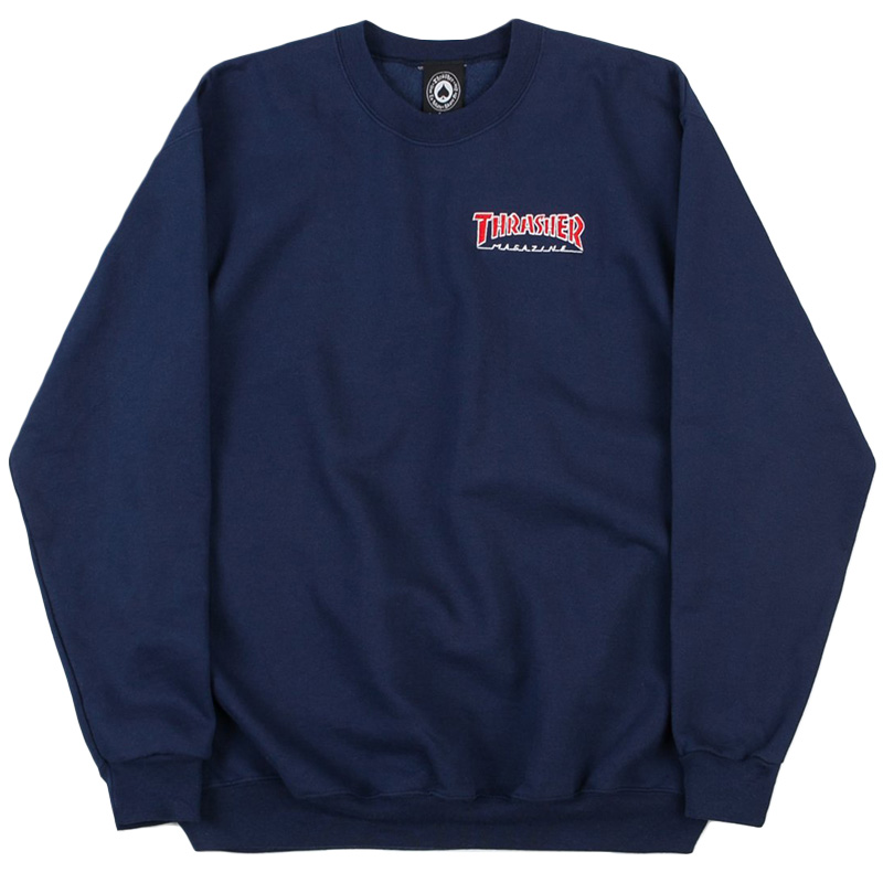 Thrasher Embroidered Outlined Crewneck Sweater Navy